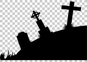 公墓剪影墓碑,墓的剪影PNG剪贴画单色,艺术,天空,可伸缩矢量图形,
