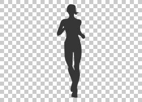 剪影慢跑,慢跑透明背景PNG剪贴画运动,单色,运行,人类,体育,女子,