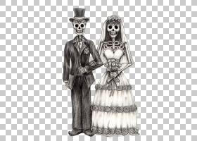 卡拉维拉死亡新郎绘画的一天,骷髅新娘PNG剪贴画白色,婚礼,时尚,图片
