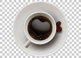 咖啡杯卡布奇诺茶,咖啡杯与心,白色陶瓷茶杯和茶碟PNG剪贴画咖啡,图片