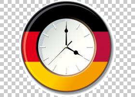 德国国旗时钟墙贴花,时钟时间元素PNG剪贴画旗子厨房,标志,贴纸,