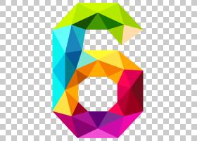 数字,彩色三角形六号,多彩多姿的#6 PNG剪贴画三角形,对称性,数图片