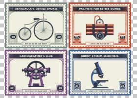 纸便士黑色邮票设计,复古邮票PNG剪贴画杂项,角度,自行车,复古相