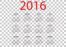 日历欧几里德,2016年透明日历,2016年日历PNG剪贴画文字,封装的Po图片