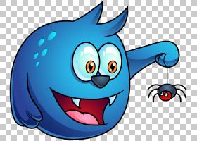 蓝色万圣节怪物,蓝色字符控股蜘蛛图PNG剪贴画万圣节快乐,电脑壁