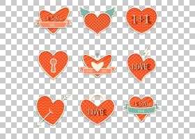 欧几里德插画,9精美的爱设计素材PNG剪贴画爱,心,橙色,节日元素,