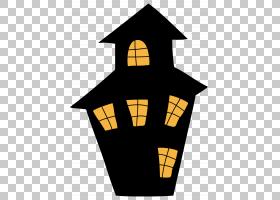 万圣节闹鬼的吸引力党,鬼屋,黑色和黄色的房子插图PNG剪贴画万圣