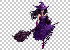东德巫术紫山女巫,万圣节紫女巫,女巫骑扫帚PNG剪贴画万圣节快乐,
