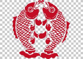 中国剪纸中国新年,春节双鱼座PNG剪贴画食品,心,节日矢量,中国,卡
