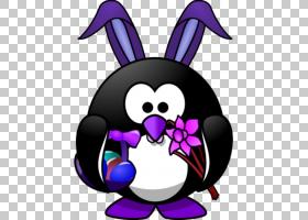 复活节兔子小企鹅,兔子耳朵PNG剪贴画紫色,复活节彩蛋,艺术,礼服