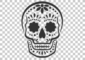 Calavera杰克-o-灯笼雕刻南瓜万圣节,头骨,黑糖头骨PNG剪贴画脸的