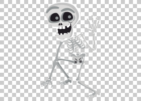 人体骨骼万圣节,万圣节骨架PNG剪贴画假期,黑色和白色,头骨,骨架,