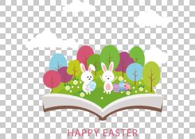 复活节兔子复活节彩蛋贺卡,创意复活节PNG剪贴画假期,文本,摄影,