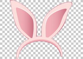 兔耳,复活节兔子耳朵,粉红色兔子头带插图PNG剪贴画假期,心脏,封