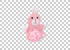 复活节兔子毛绒兔子填充玩具纺织,粉红色可爱浴球PNG剪贴画浴室,