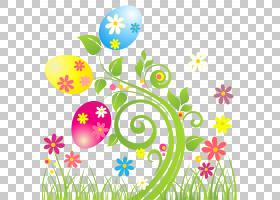 复活节兔子花复活节彩蛋,透明花卉s PNG剪贴画边框,叶,分支,草,复