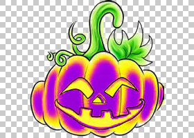 Calabaza南瓜杰克-o-灯笼万圣节,南瓜骨架PNG剪贴画紫色,食品,花