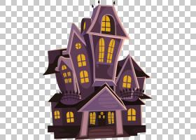 万圣节屋文件PNG剪贴画紫色,建筑,假期,卡通,网站,闹鬼的房子,房
