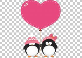 Penguin Love,企鹅PNG剪贴画摄影,节日元素,心,心,卡通,鸟,产品,