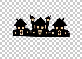 万圣节模式,万圣节黑色小房子PNG剪贴画黑头发,文字,摄影,节日元