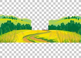风车农场风景,动画片乡下稻米森林背景,黄色和绿色领域PNG clipar