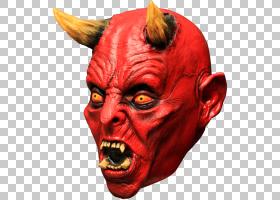 路西法乳胶面具撒旦恶魔,魔鬼PNG剪贴画万圣节服装,头,虚构人物,
