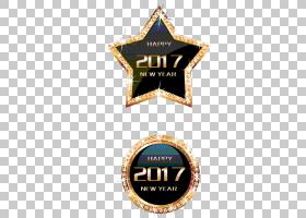 绘制星稳定,2017年的PNG剪贴画会徽,标签,日历,节日元素,徽标,模