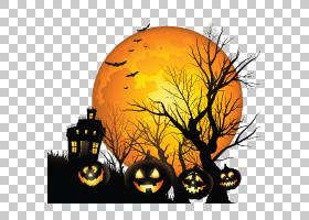 闹鬼的房子YouTube Ghost,万圣节月亮PNG剪贴画橙色,电脑壁纸,桌