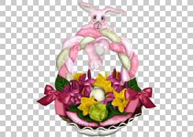 复活节兔子切花花艺设计食品,复活节PNG剪贴画食品,假期,兔子,花