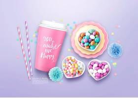清新彩色糖果主题海报模板设计