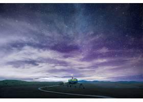 空旷星空下孤独车辆露营唯美主题海报模板设计