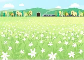 清新唯美的郊外风景列车主题海报模板设计