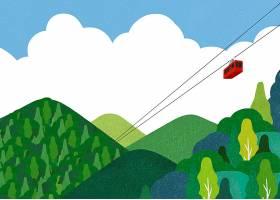 手绘创意缆车插画主题海报模板设计
