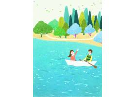 手绘清新情侣划船主题海报模板设计