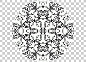 对称线条艺术点图案,曼荼罗PNG剪贴画白,叶,单色,视觉艺术,树,工