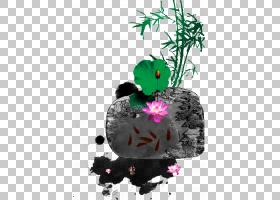 池塘Nelumbo nucifera,墨水荷花池假山PNG剪贴画叶,海报,中国,花
