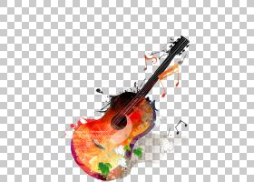 吉他音乐,吉他和音乐,棕色和紫色吉他画PNG剪贴画水彩画,画布,卡