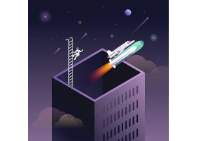火箭发射太空宇宙矢量图