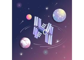 宇宙中的卫星太空宇宙矢量图