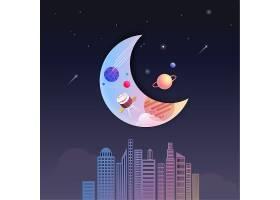 月亮主题太空宇宙矢量图