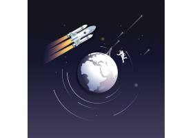 地球环绕主题太空宇宙矢量图