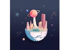 通往其他行星概念主题太空宇宙矢量图