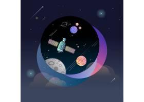 宇宙里的人造卫星主题太空宇宙矢量图