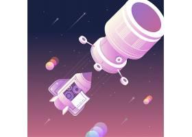 火箭分离步骤主题太空宇宙矢量图