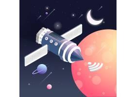 人造卫星主题太空宇宙矢量图
