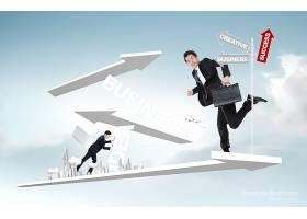 创意个性韩式商务办公人物特写主题海报背景设计