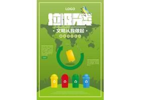绿色通用垃圾分类海报插画