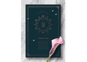 绿色简洁婚礼婚庆邀请函封面标签设计