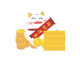 创意日式招财猫卡通形象装饰元素设计