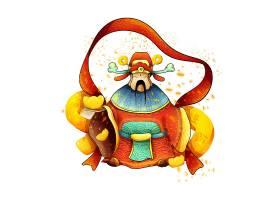 中国风创意手绘财神爷迎财神装饰插画